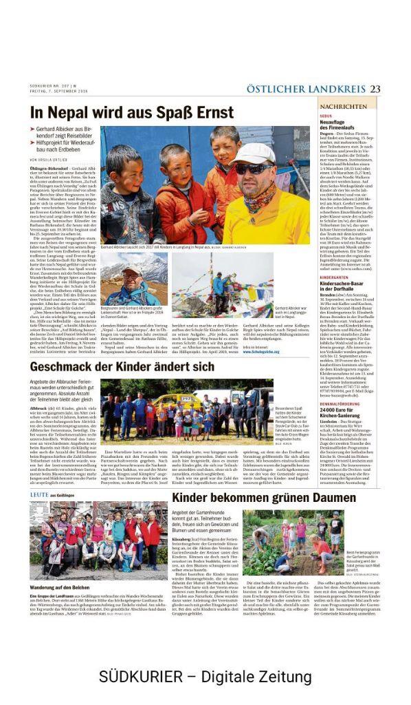 Artikel Südkurier Foto Vernissage Gerhard Albicker